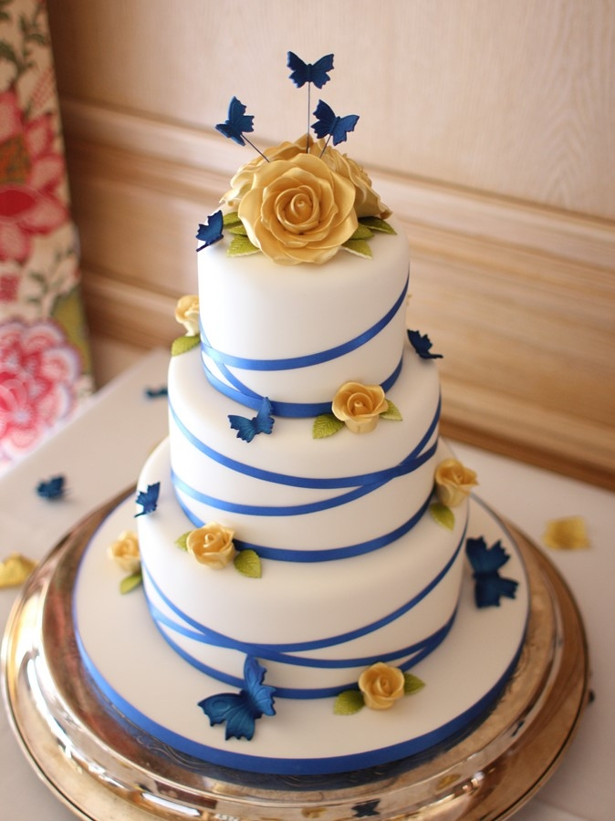 Gold Roses And Royal Blue Butterflies French Wedding Cakes