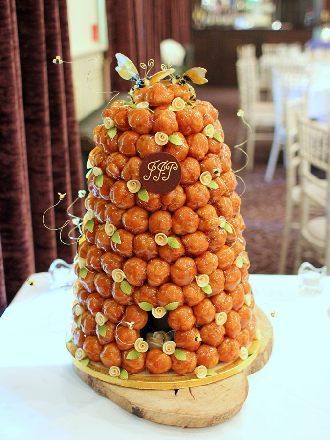 French Wedding Cake.Bee Hive Croquembouche