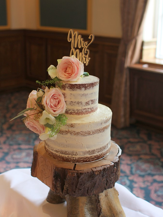 Semi Naked Cake 2 Tiers And Flowers French Wedding Cakes