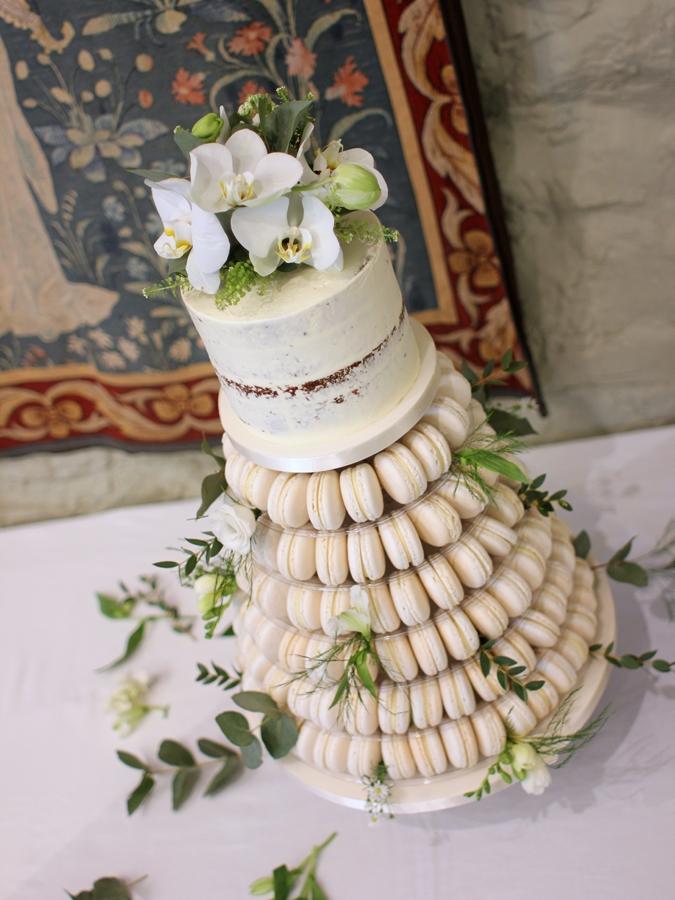Macaron Stand And Semi Naked Cake French Wedding Cakes